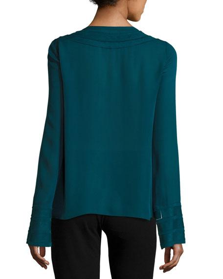 Emerson V-Neck Silk Blouse, Green Topaz
