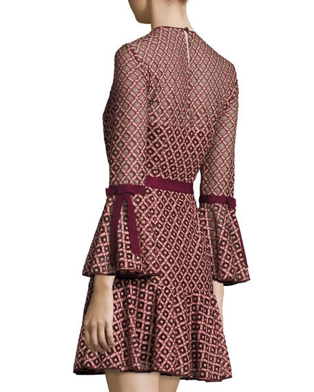 Cossette Lace Bell-Sleeve Dress