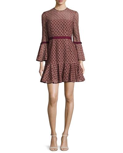 Cossette Lace Bell-Sleeve Dress