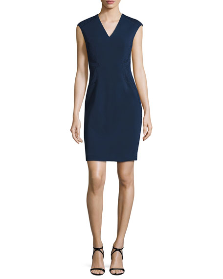 Sleeveless Ponte Eyelet Sheath Dress, Navy