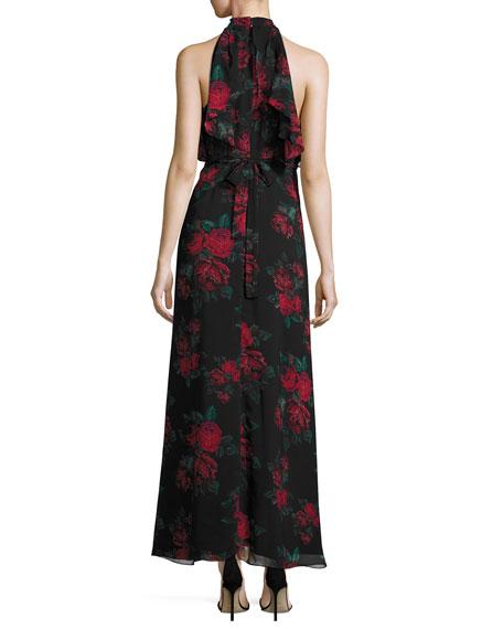 Golden Ray Rose-Print Maxi Dress