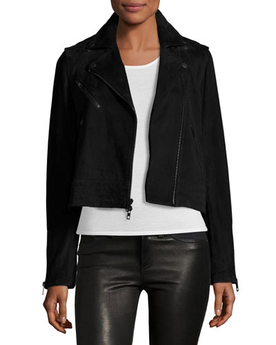 Mercer Suede Biker Jacket, Black