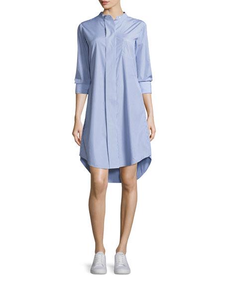 Theory Jodalee Taff Striped Shirtdress, Blue/White