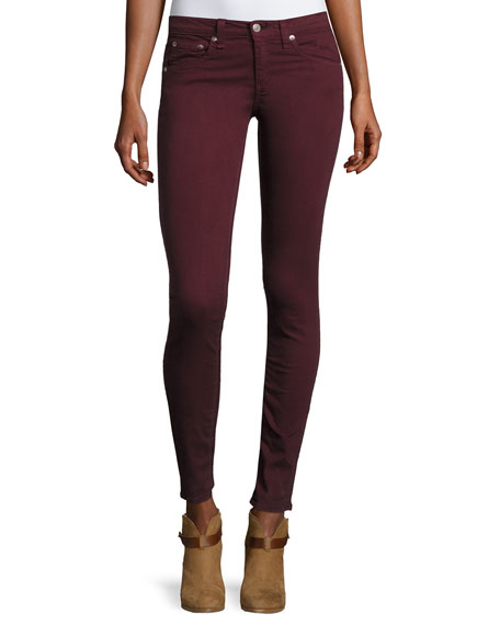 Mid-Rise Skinny Jeans, Port