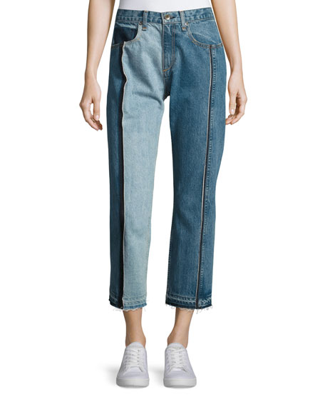Magnolia Two-Tone Cropped Jeans, Blue