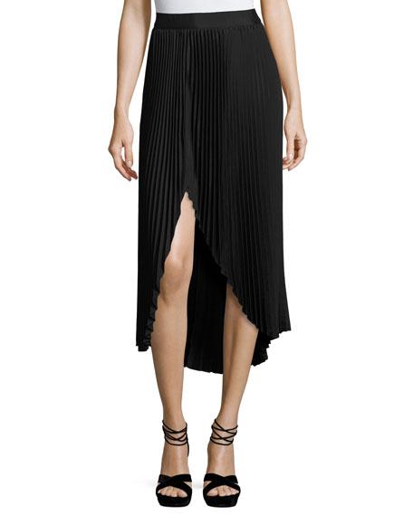 Ramy Brook Blair Plissé Slit Midi Skirt, Black
