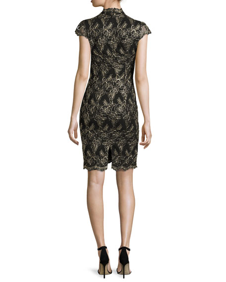 Image 2 of 2: Marya Fitted Scalloped-Lace Dress