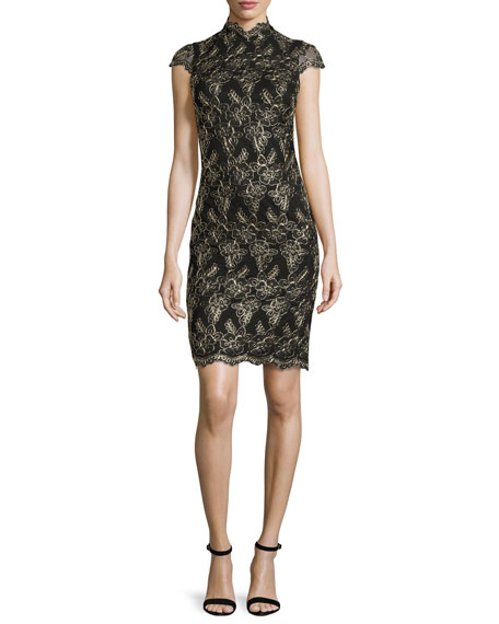 Image 1 of 2: Marya Fitted Scalloped-Lace Dress