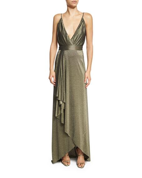 The Daylight Draped Metallic Maxi Skirt, Gold