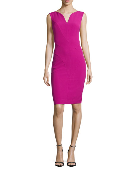 Milly Sleeveless Split V-Neck Sheath Dress, Fuchsia