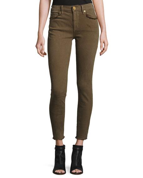 Hallie Super Skinny Cropped Jeans, Olive