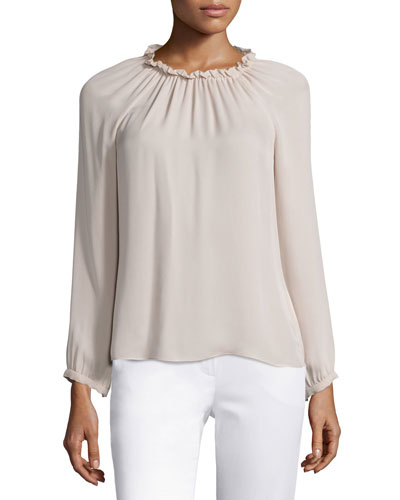 Georgette Long-Sleeve Ruffle Blouse