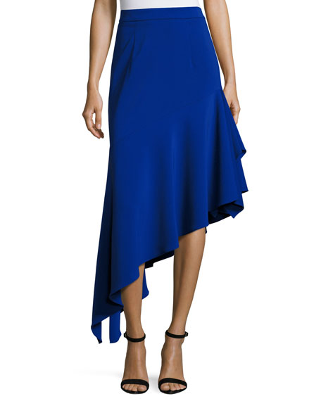 Milly Charlotte Asymmetric Ruffled Midi Skirt, Cobalt