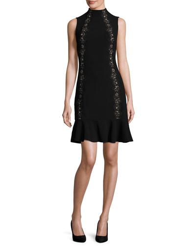 Crepe Lace-Trim Cocktail Dress