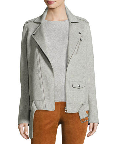 Tralsmin New Divide Oversize Moto Jacket, Melange Gray