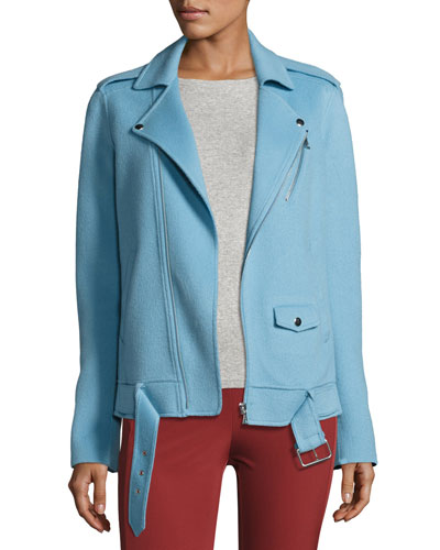 Tralsmin DF New Divide Wool-Cashmere Biker Jacket, Ocean Blue