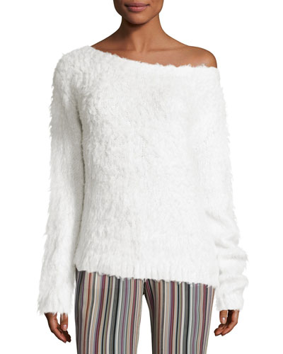 Irinka Plush Silk Sweater, Ivory