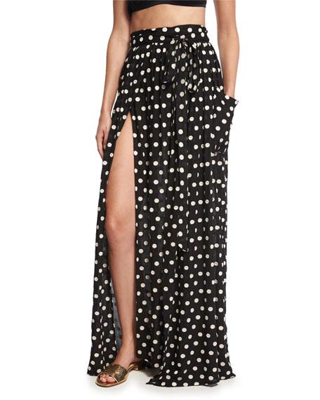 Polka-Dot Slit Maxi Skirt, Black/Cream