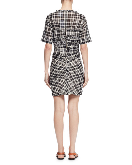 Wallace Ruched Plaid Dress, Black