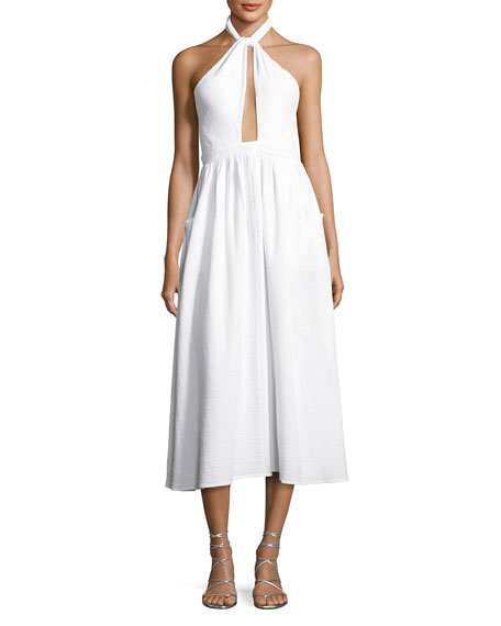 Halter-Neck Coverup Midi Dress