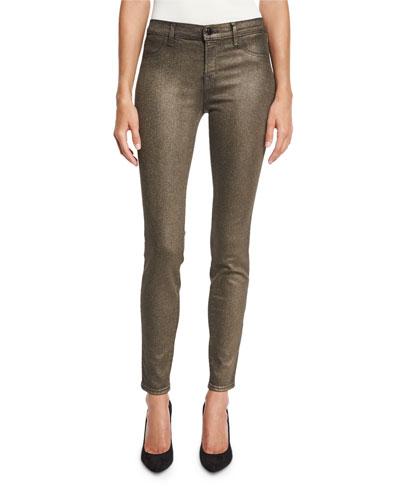 Cosmos Metallic Mid-Rise Super Skinny Jeans, Bronze