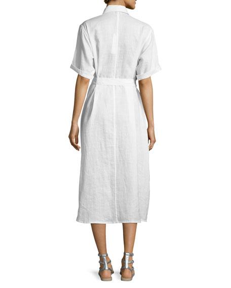 Guayabera Midi Shirtdress, Pure White