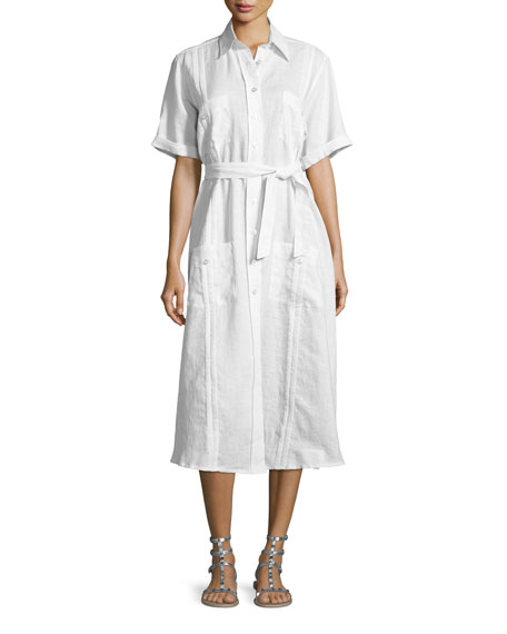 Miguelina Guayabera Midi Shirtdress, Pure White