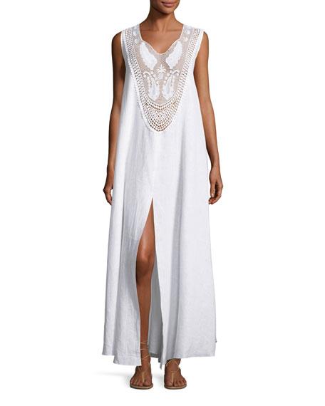 Miguelina Lana Lace-Bib Maxi Dress, Pure White