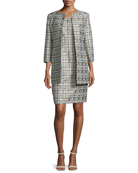 ALBERT NIPON Houndstooth Jacquard Jacket & Sheath Dress Set, Pewter Multi