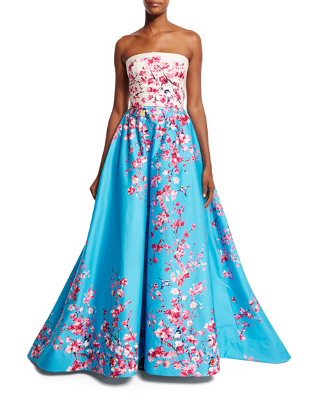 Strapless Magnolia Branch & Bird-Print Sateen Ball Gown