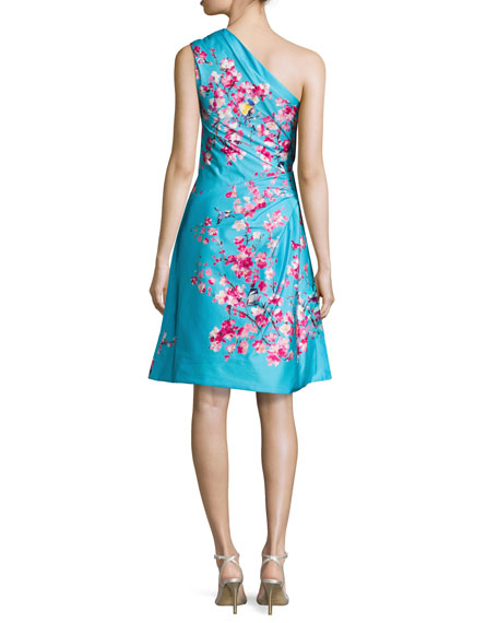 Cherry Blossom One-Shoulder Cocktail Dress, Aquamarine/Multi