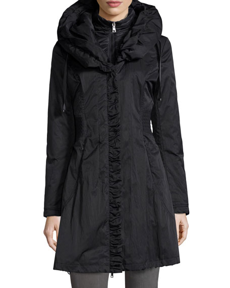 Elie Tahari Hooded Ribbed-Trim A-Line Jacket, Black