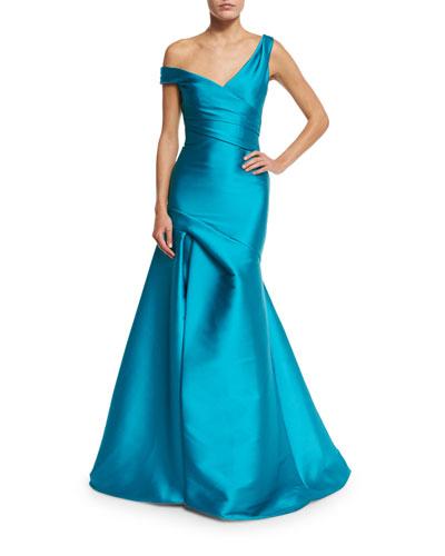 Off-the-Shoulder Draped Mikado Gown, Aquamarine