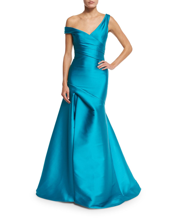 Monique Lhuillier Off-the-Shoulder Draped Mikado Gown, Aquamarine ...
