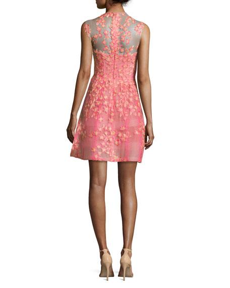 Sleeveless Floral-Appliqué Cocktail Dress