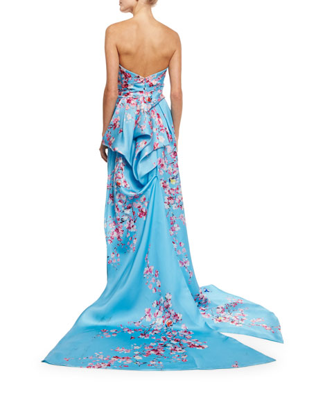 Strapless Cherry Blossom Column Gown, Sky Blue/Multi