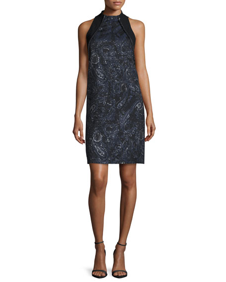 Carmen Marc Valvo Sleeveless Beaded Paisley Cocktail Dress,