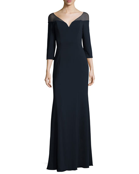 Badgley Mischka 3/4-Sleeve Jersey Evening Gown, Navy