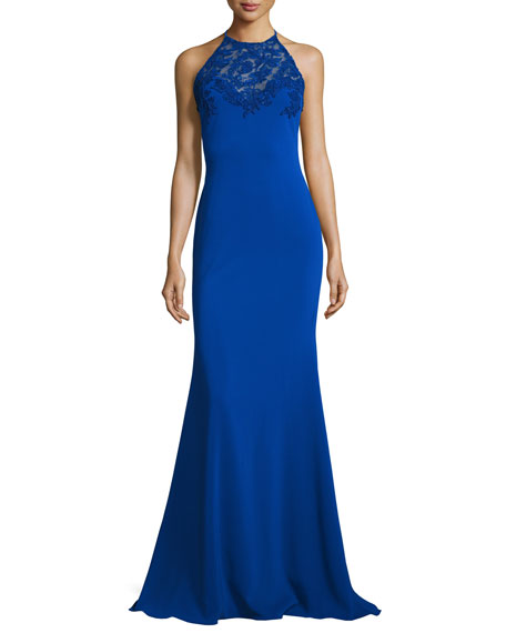 Badgley Mischka Sleeveless Lace-Trim Jersey Mermaid Gown, Royal