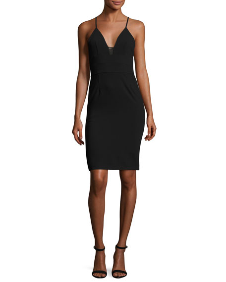 Alice + Olivia Jean Lace-Inset Fitted Sleeveless Dress,