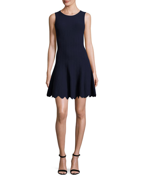 Alice + Olivia Paulie Pintucked Scalloped Fit-&-Flare Dress