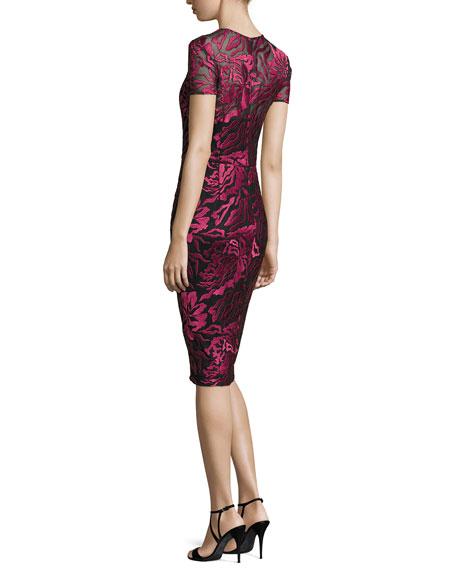 Short-Sleeve Floral Embroidered Sheath Dress, Burgundy