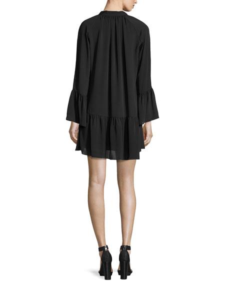 Holland Tie-Neck Silk Trapeze Dress