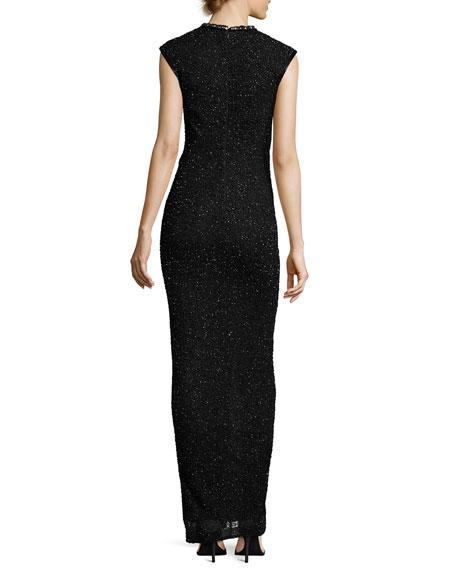 Quinn Hand-Embellished Front-Slit Gown, Black