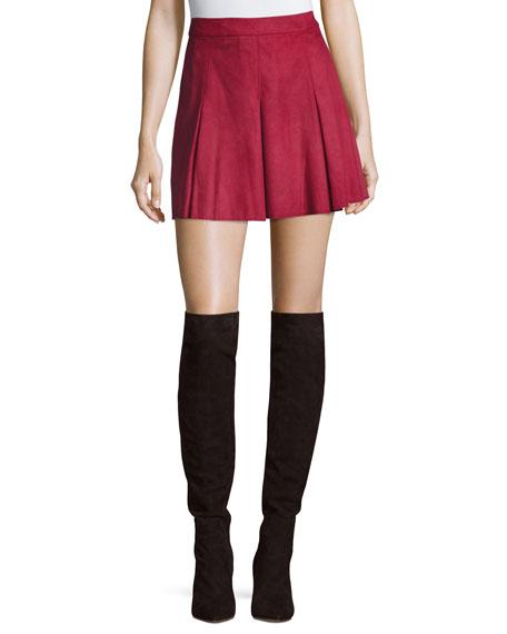 Lee Pleated Suede Mini Skirt, Burgundy