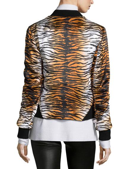 Lloyd Silk Animal-Print Varsity Jacket, Eggshell/Camel Top Reviews
