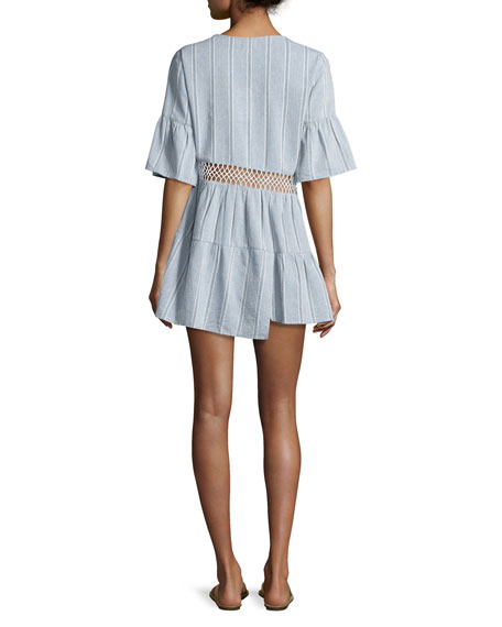 Tiered Striped Caftan Coverup, Desert Muse