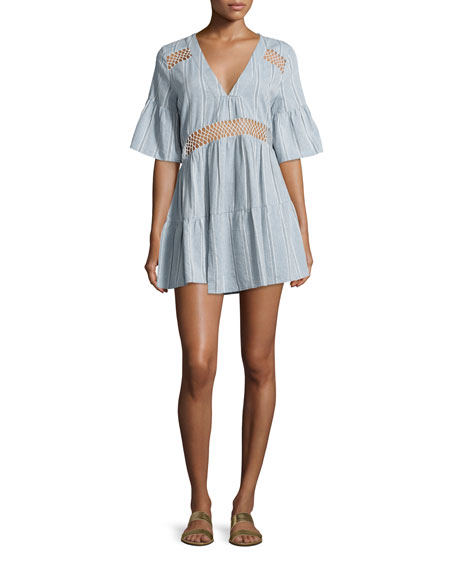 Suboo Tiered Striped Caftan Coverup, Desert Muse