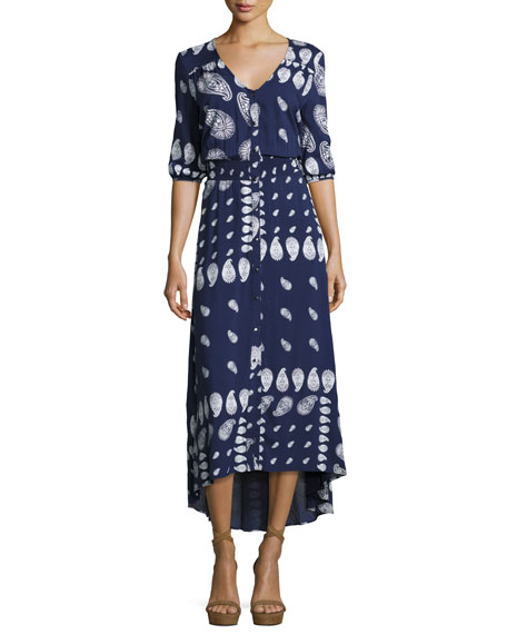 Suboo Drifter Paisley Button-Front Maxi Dress, Indigo