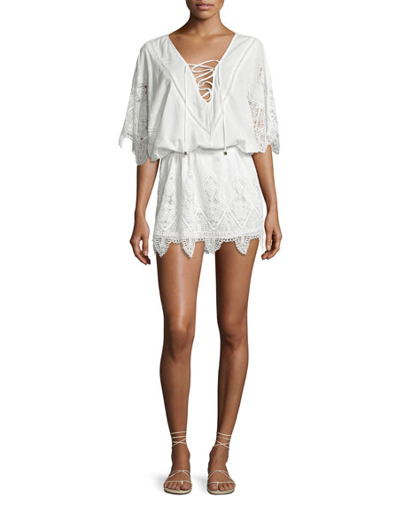 Prairie Broderie Anglaise Lace Caftan Coverup, White